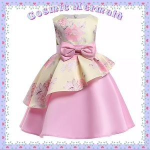 Other - 🆕🌸Pastel Yellow & Pink Floral Bow Tutu Dress🤗